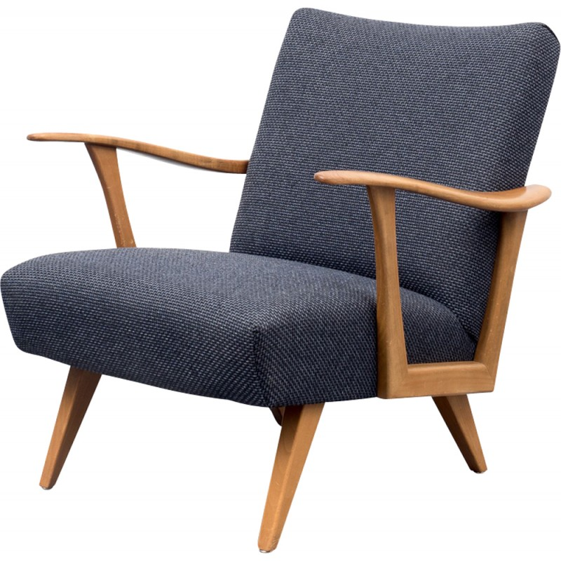 Dark Blue Armchair In Solid Walnut   1950s
