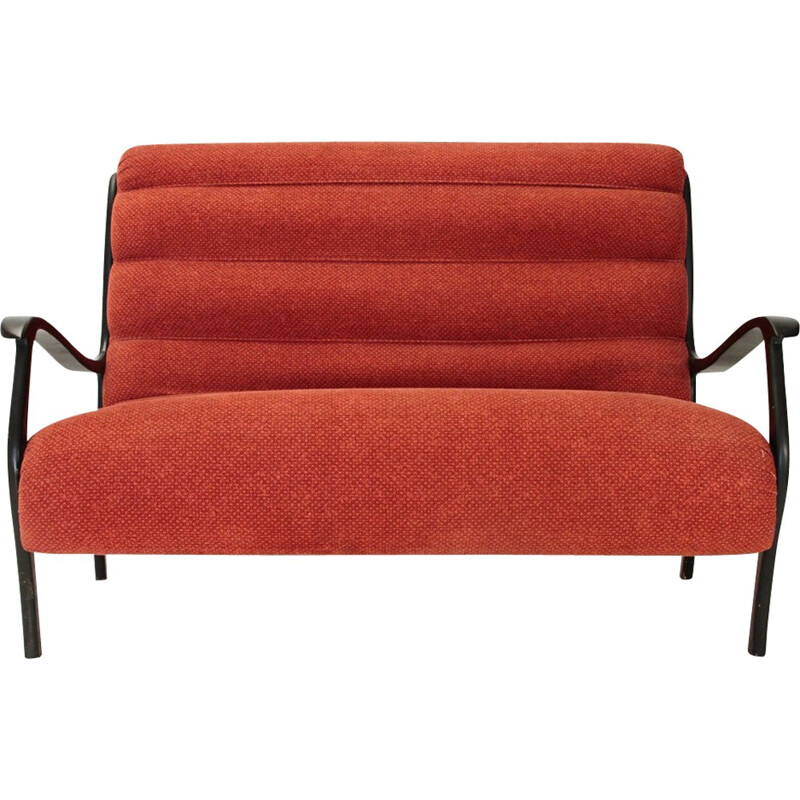Mitzi fleece red sofa by Ezio Longhi for Elam - 1950s