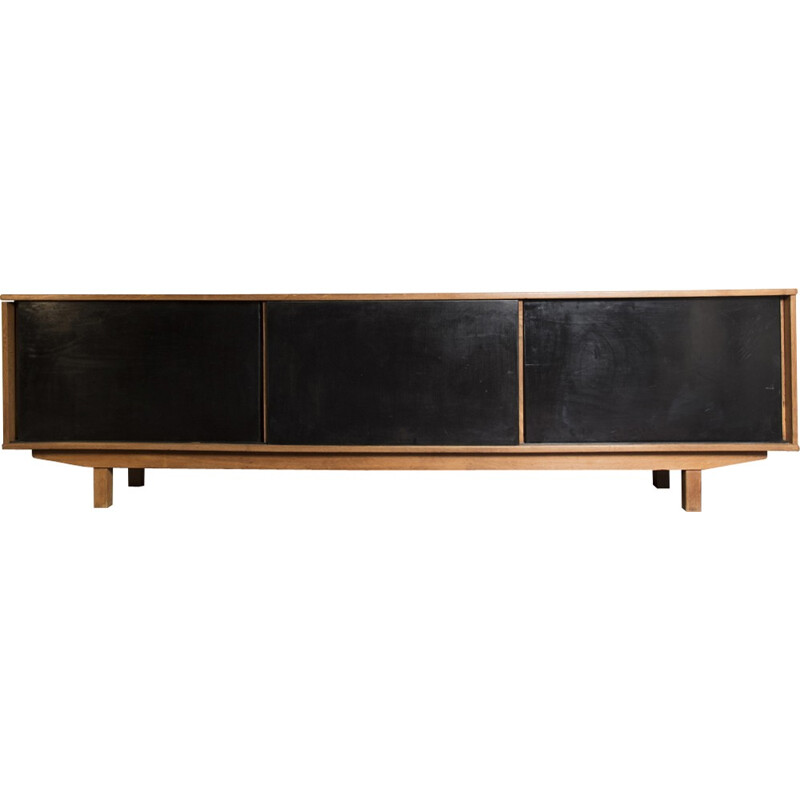 Wooden black sideboard by Jean Domps - 1950s