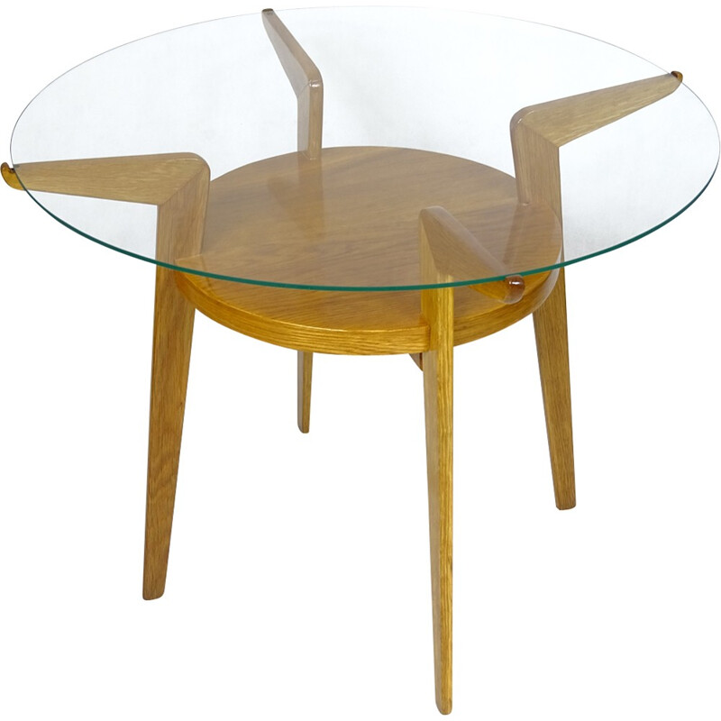 Circular czech beech coffee table by Jitona - 1960s