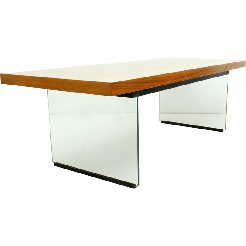 Glass & walnut rectangular coffee table - 1950s