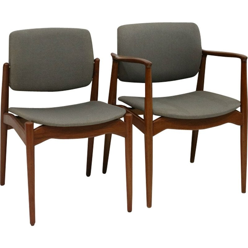 Set of 7 dining chairs with grey seat by Erik Buch for Orum Mobler - 1960s