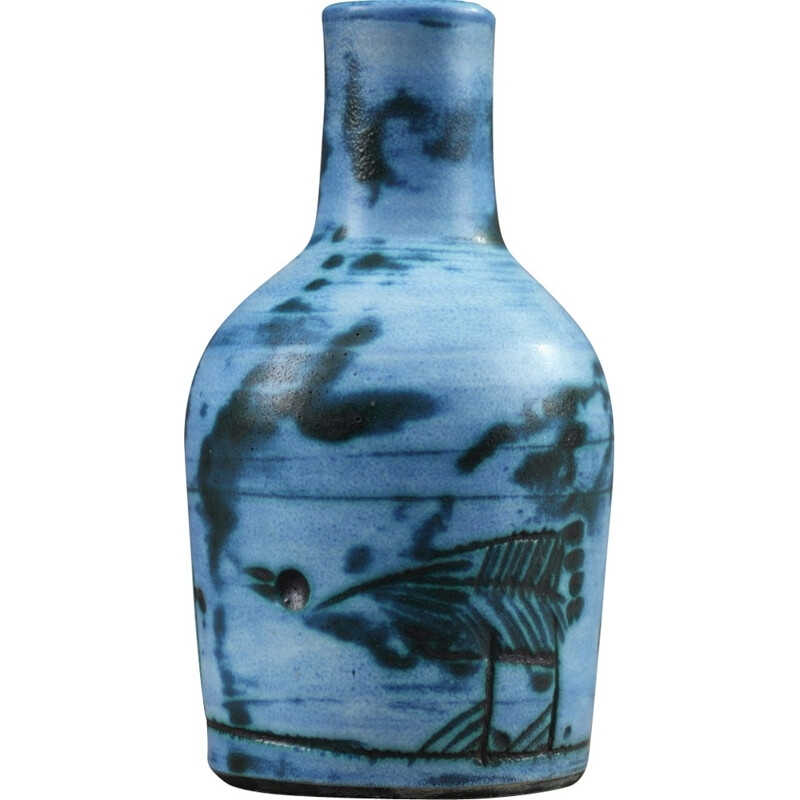 Small enamelled vase in blue by Jacques Blin - 1950s