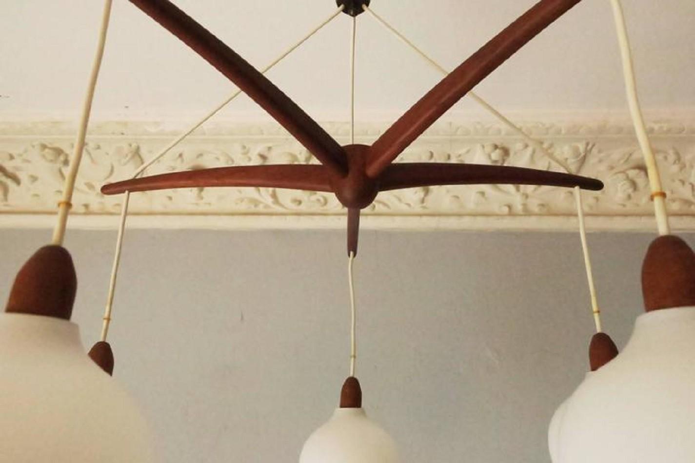 Danish teak and glass cascading chandelier 1960s design market sold arubaitofo Gallery