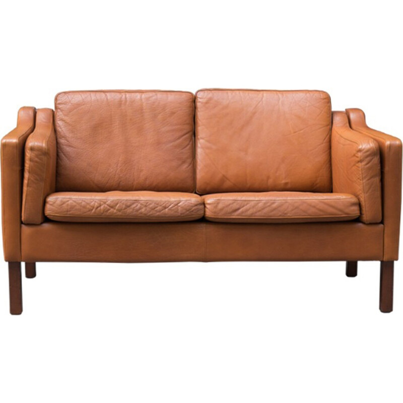 2-seater sofa in brown leather, Borge Mogensen - 1960s