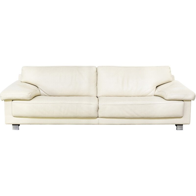Mid-century 2-seater white leather sofa - 1980s
