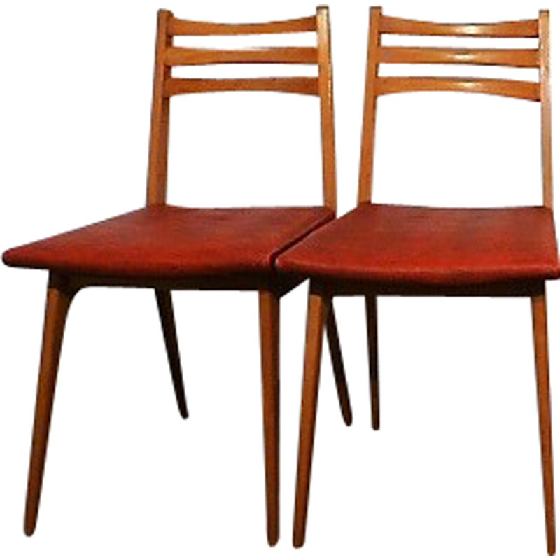 Set of 4 vintage red chairs in leatherette - 1960s