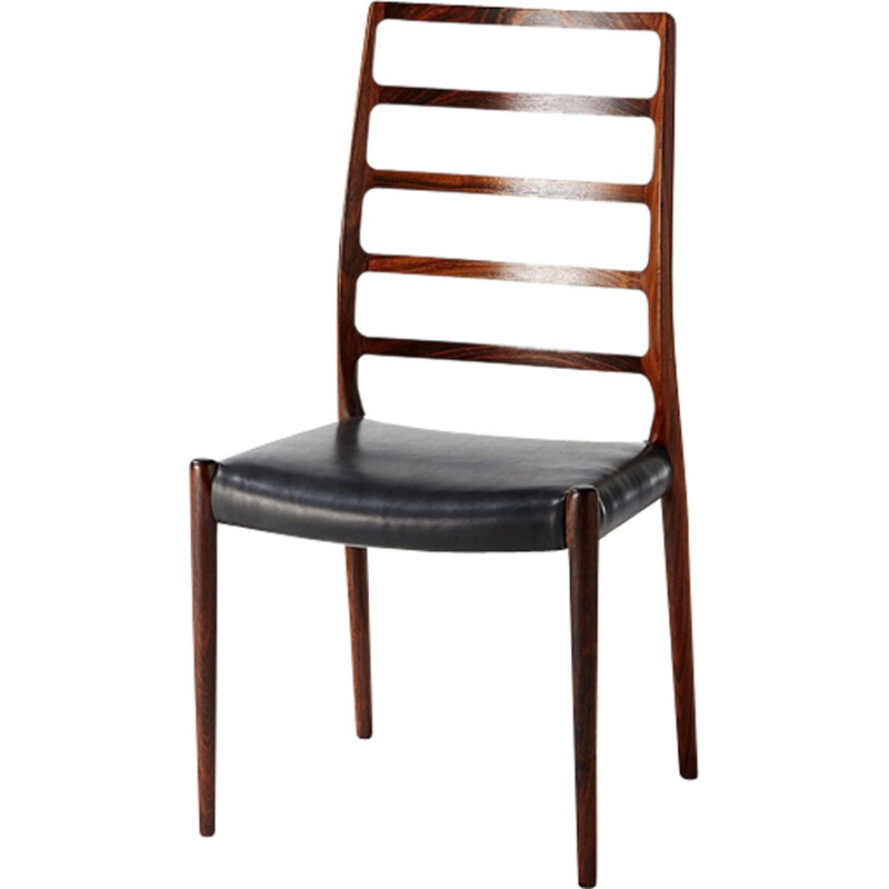 Set of 6 dining chairs, Model 82 by Niels Moller - 1970s