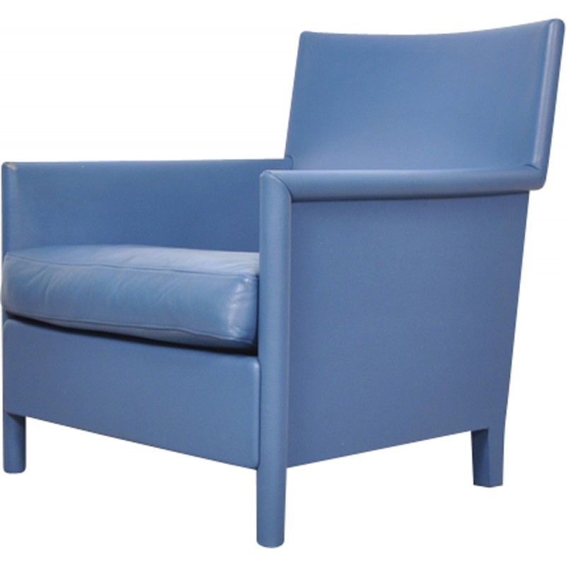 Blue Leather Armchair From Molteni U0026 Consonni   1970s