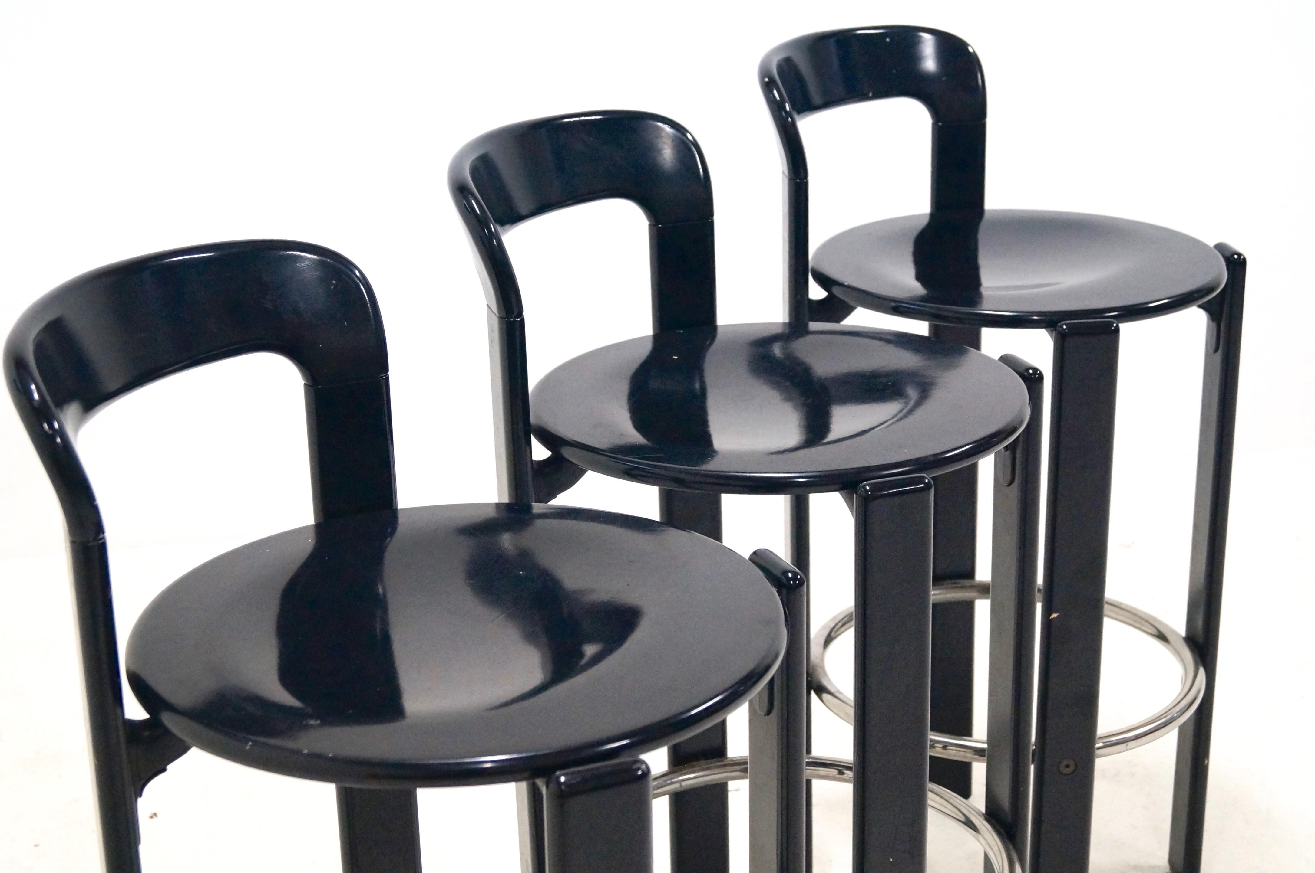 set of 3 bar stools by bruno rey for dietiker 1970s design market. Black Bedroom Furniture Sets. Home Design Ideas