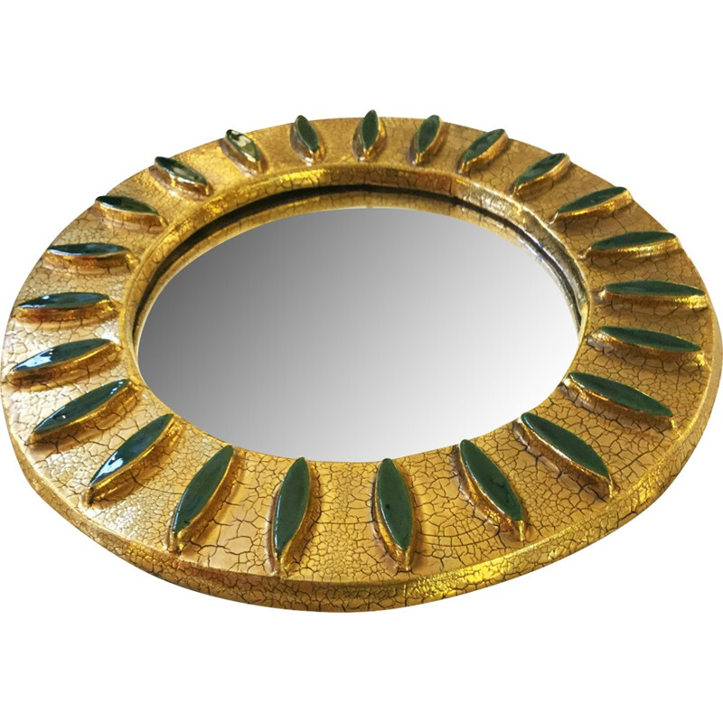 Mid century mirror in ceramics and brass - 1960s