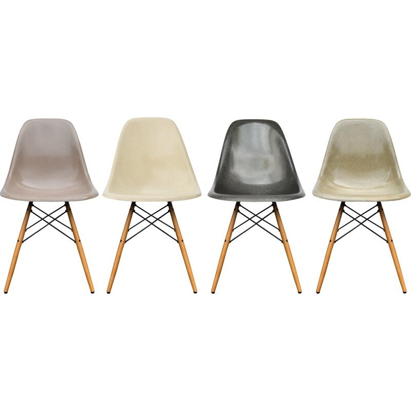Set of 4 dining chairs model DSW in fiberglass and maple with grey shades by Eames - 1950s