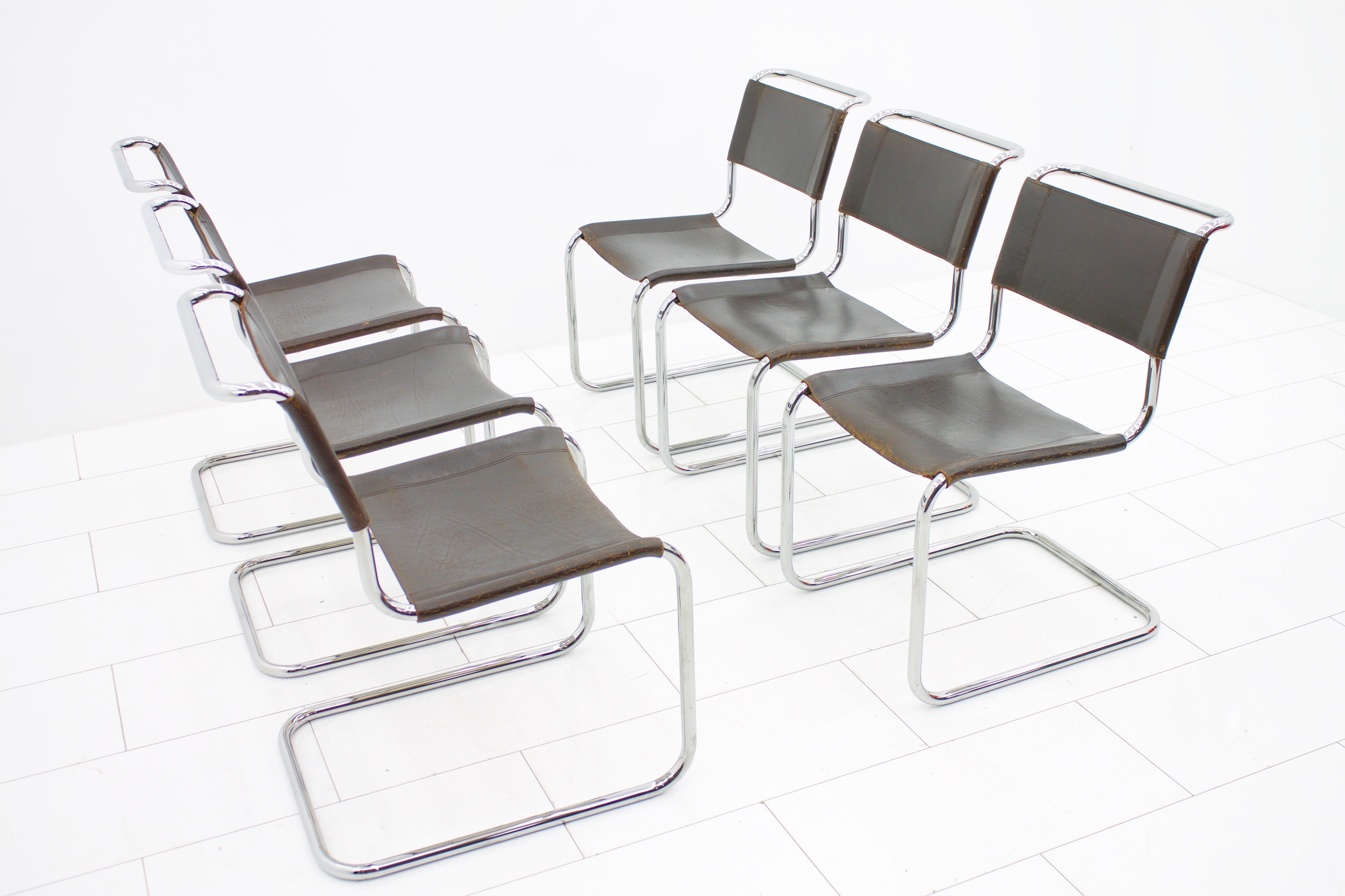 Set of 6 brown S33 chairs in metal and leather by Mart Stam