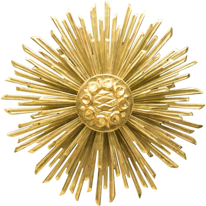 Large wooden sunburst golden wall lamp - 1960s