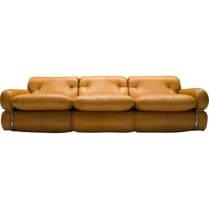 Marvelous Three Seater Mid Century Italian Leather Sofa 1960S Gmtry Best Dining Table And Chair Ideas Images Gmtryco