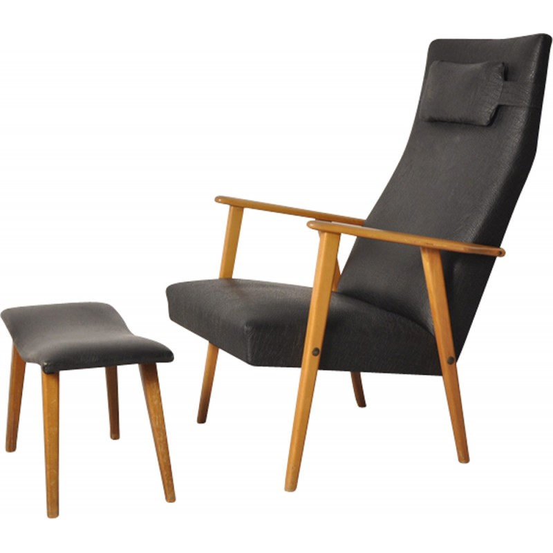 Beau Mid Century Set Of A Black Oakwood And Vinyl High Back Easy Chair And