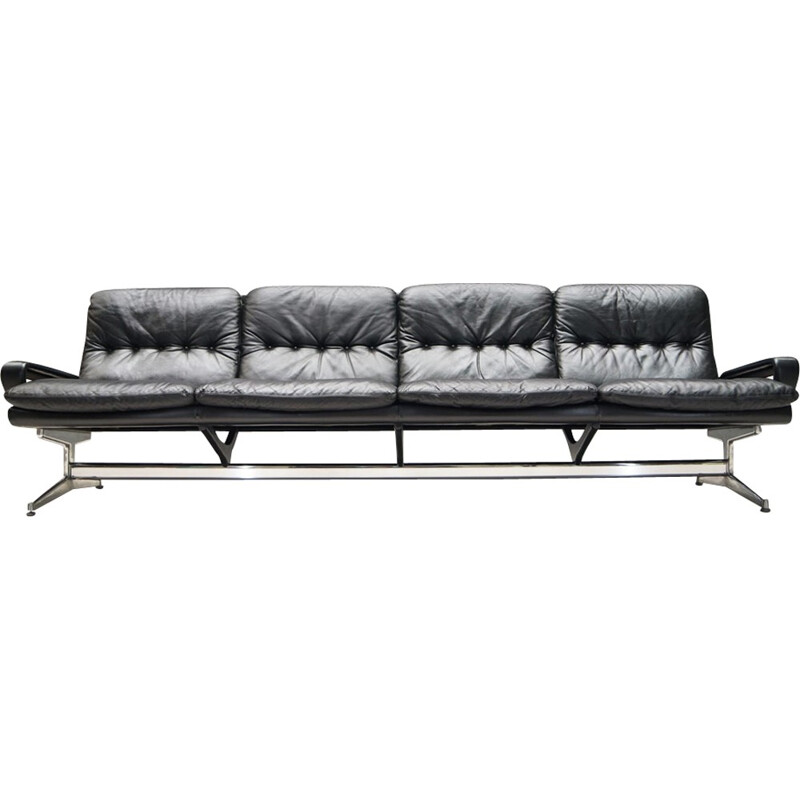 Strässle 4-seater leather King sofa by André Vandenbeuck - 1960s