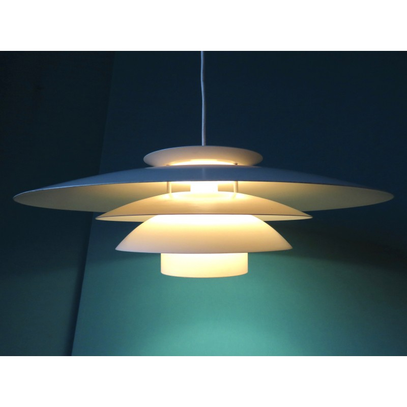 Large White Hanging Lamp Produced By Dana Light 1970s