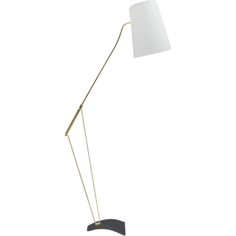 Mid-Century adjustable floor lamp with a grey shade - 1950s