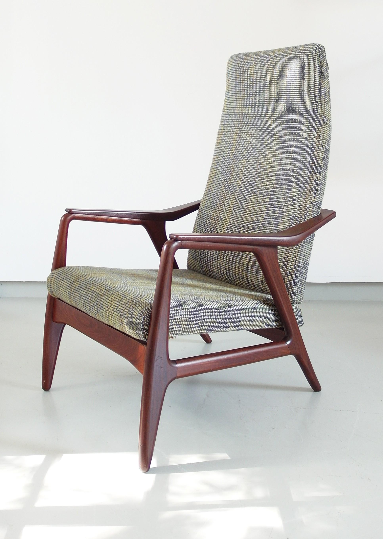 Lounge multicolor Danish wool and teak armchair - 1950s - Design Market