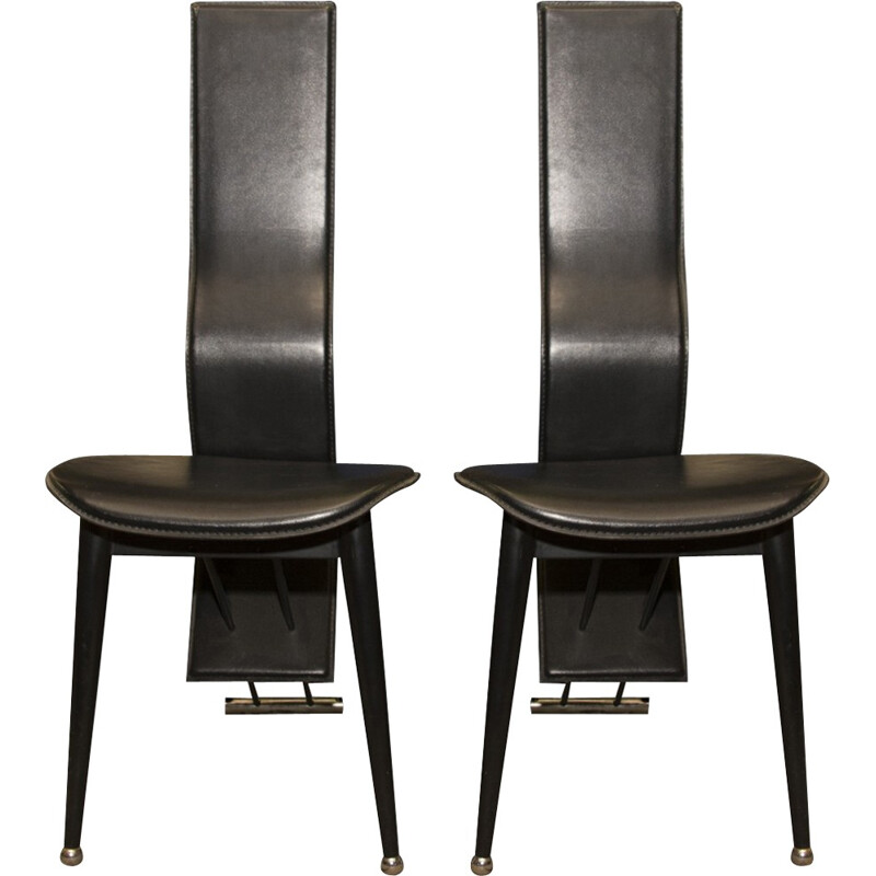 Pair of Italian mid-century high back leather dining chairs - 1980s