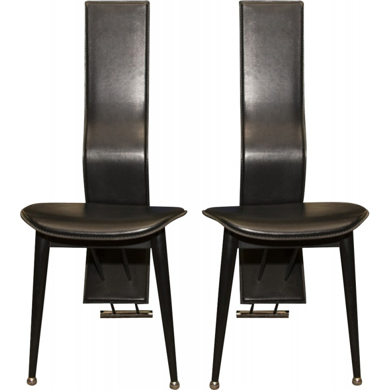Pair Of Italian Mid Century High Back Leather Dining Chairs   1980s