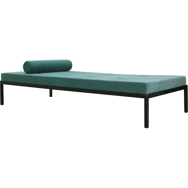 Mid-Century modern day bed, turquoise-blue reupholstered - 1960s