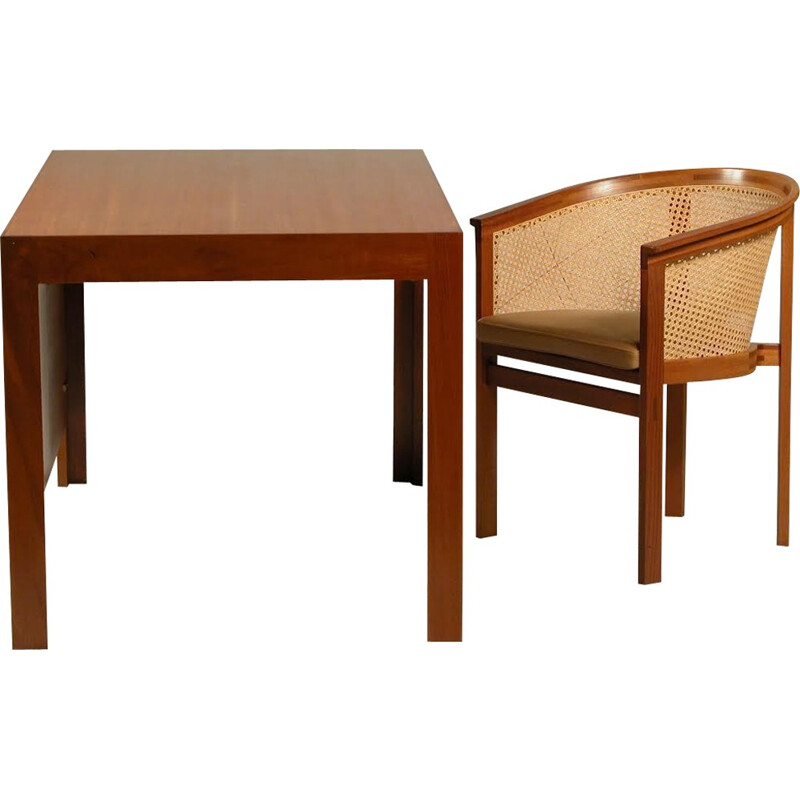 Set of desk and Chair in mahagony and brown leather by Rud Thygesen and Johnny Sørensen - 1980s