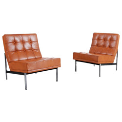 """Pair of """"Parallel Bar"""" low chairs in brown leather, Florence KNOLL - 1960s"""