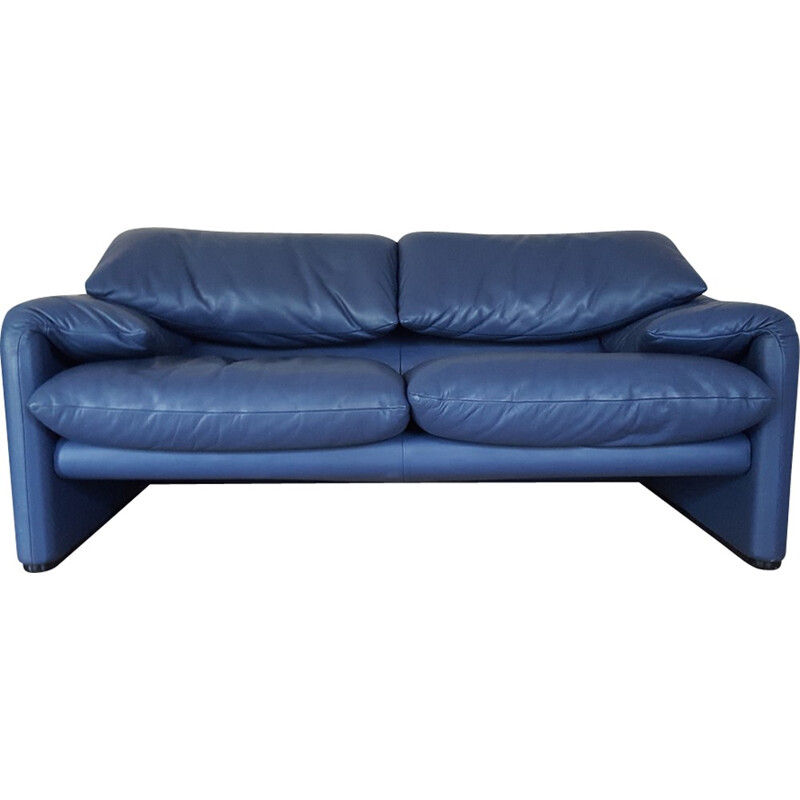 Maralunga 2-seater blue sofa in leather by Vico Magistretti for Cassina - 1970s