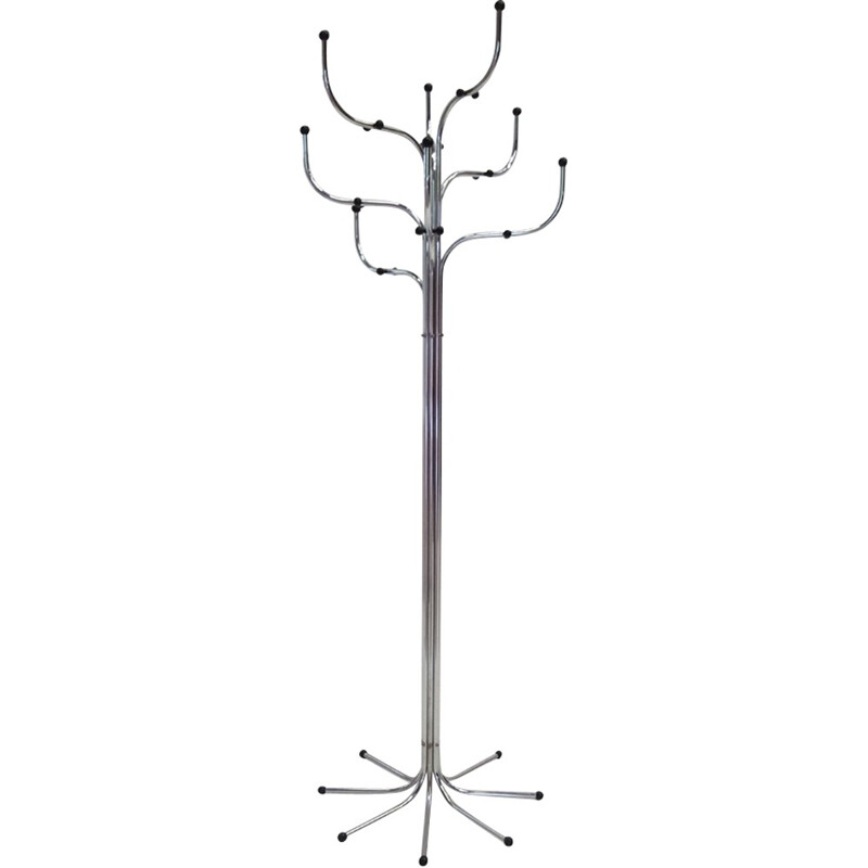 Silvery chromed coat rack by Sidse Werner for Fritz Hansen edition - 1970s
