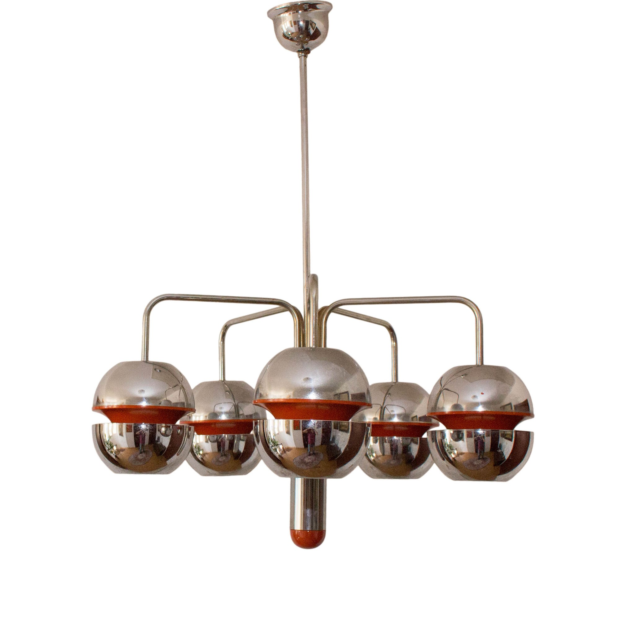 Atomic Age chandelier in chromed metal Belgium 1960s Design
