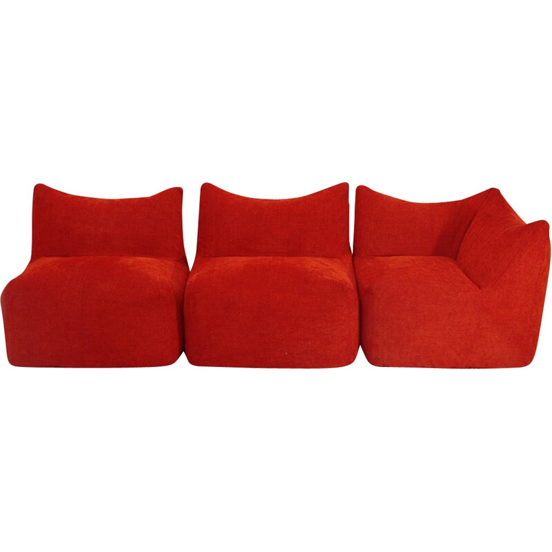 Set of 3 red modular easy chairs model Le Bambole by Mario Bellini for B&B Italia - 1970s