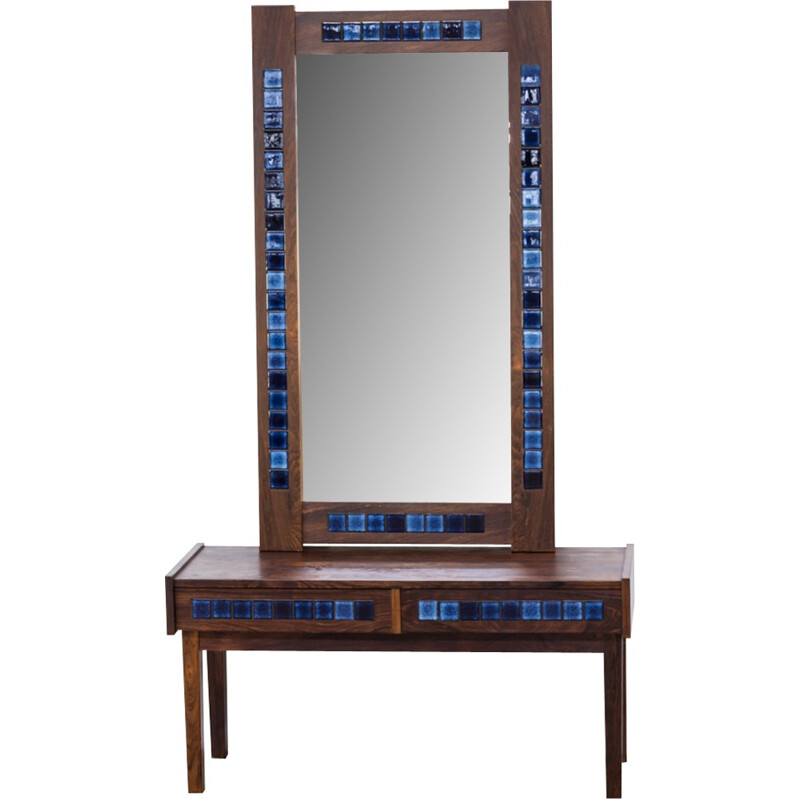 Decorative rosewood framed mirror and drawer cabinet - 1970s
