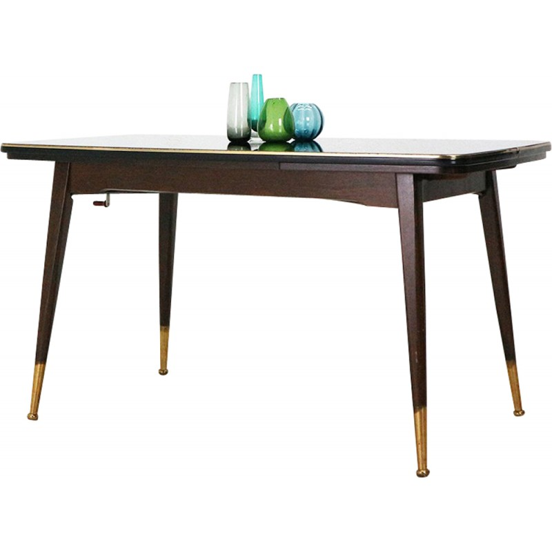 Dining Table With Pull Out Leaves And Glass Top   1950s
