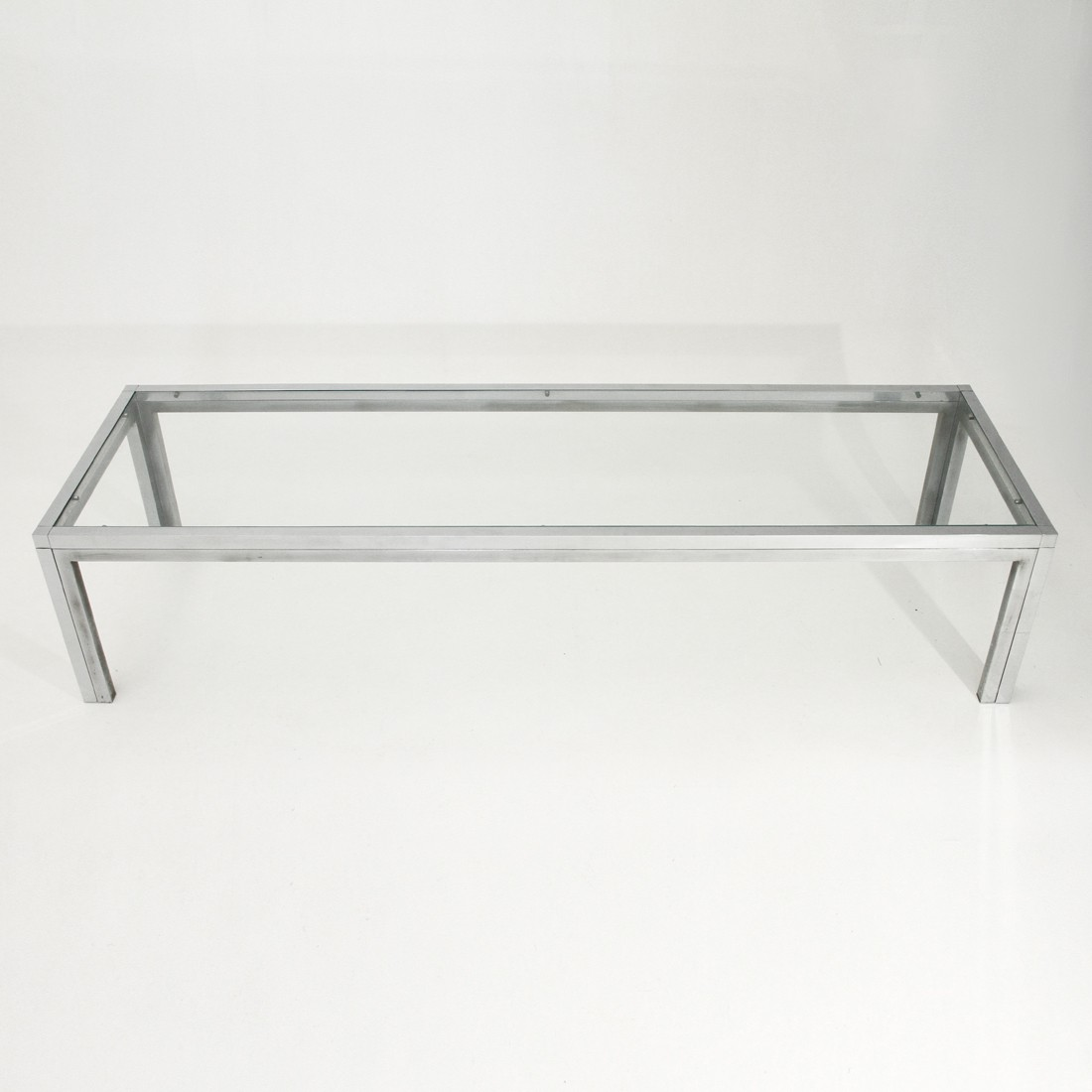 Square Steel Coffee Table Italian C 1970: Vintage Italian Chrome-plated And Glass Coffee Table