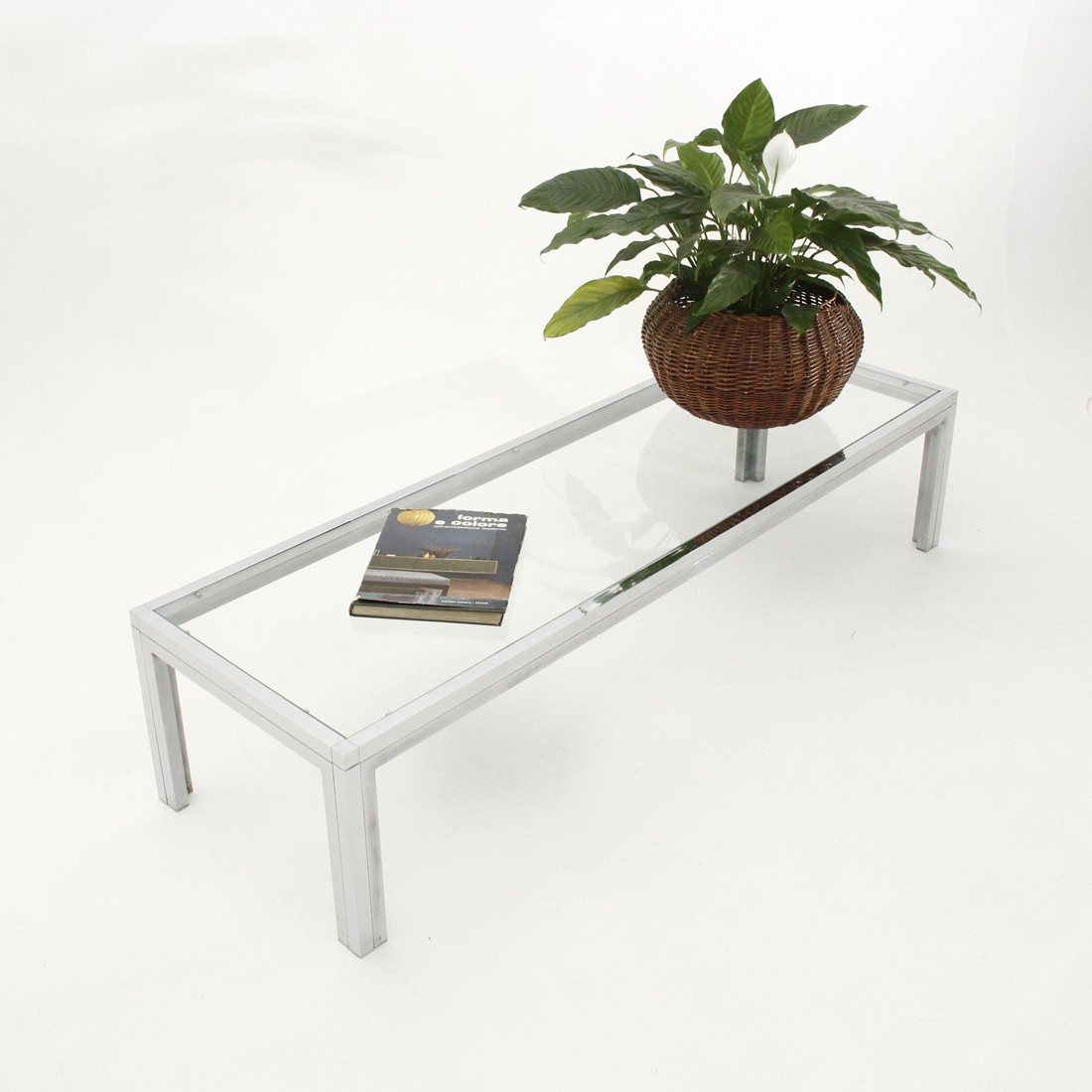 Vintage Italian chrome-plated and glass coffee table ...