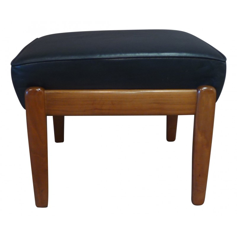 Attractive Adjustable Ottoman In Teak And Leather   Années 50