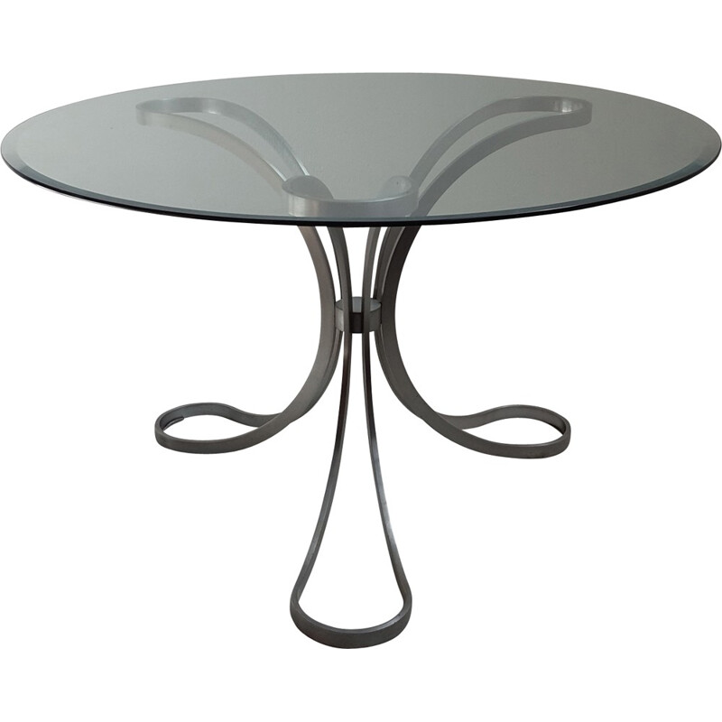 Round table in glass and tripod foot in brushed stainless steel - 1970s