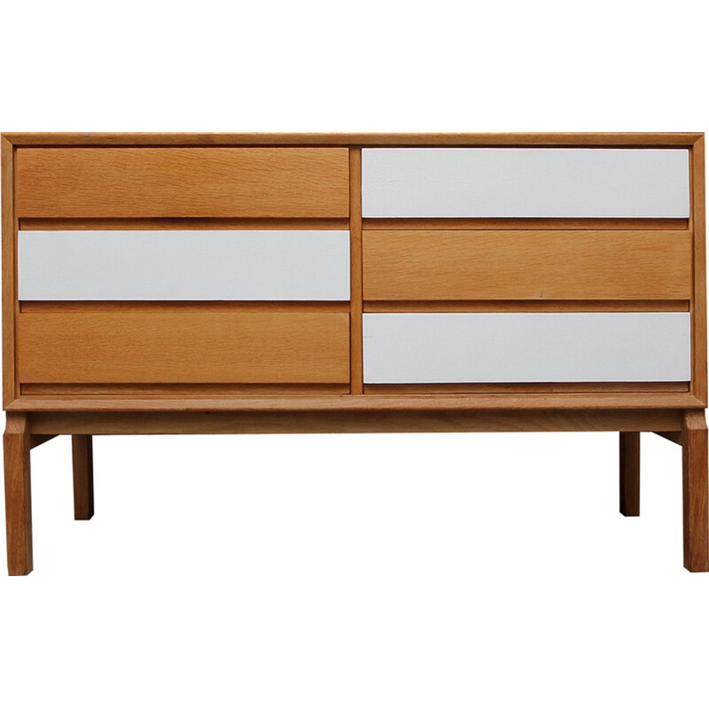 Mid-centuty oakwood sideboard with 6 drawers produced by FDD - 1960s
