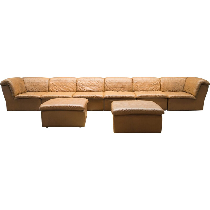 Vintage patchwork sofa set in brown leather - 1960s