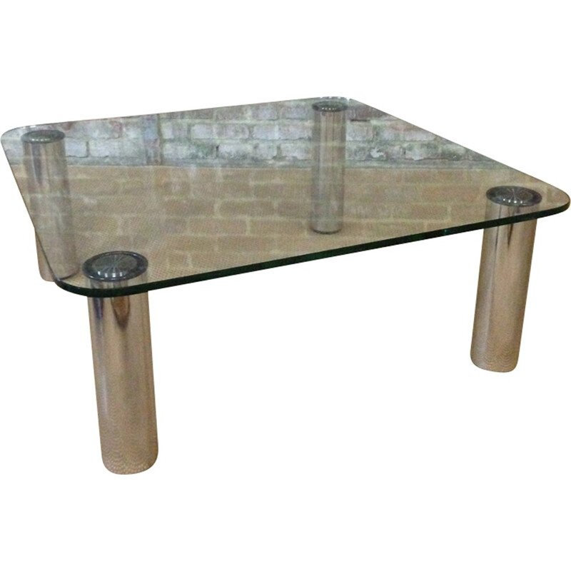Silvery coffee table in glass and chromium - 1970s