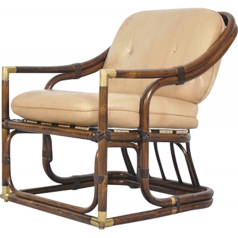 Exceptionnel Mid Century Bent Bamboo And Leather Easy Chair   1960s