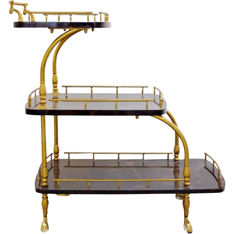 Mid-century golden trolley by Aldo Tura - 1960s
