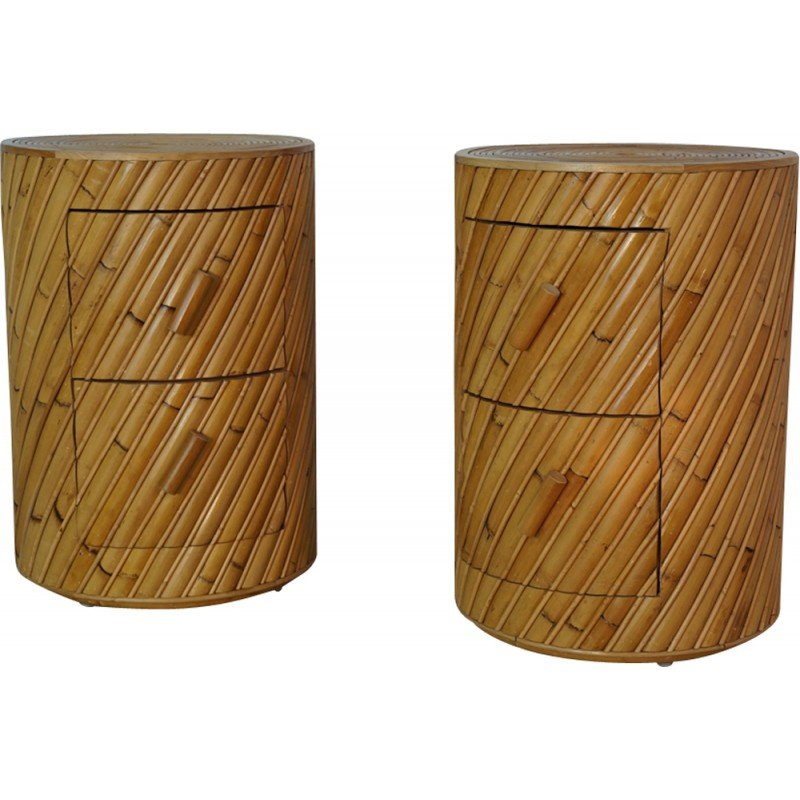 Pair Of Wooden Rattan Bedside Tables By India Mahdavi 2000s