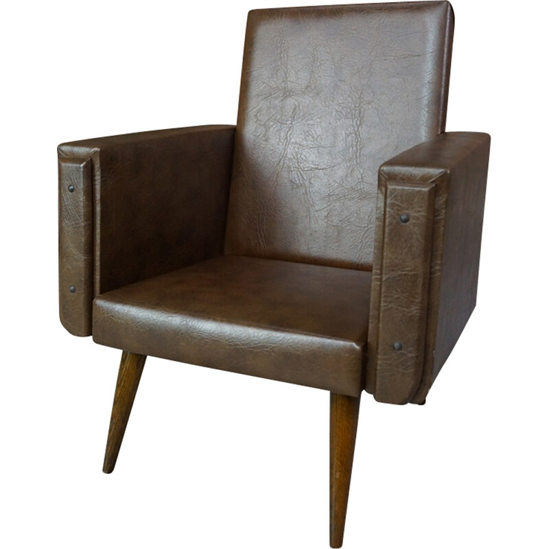 Club brown leatherette children armchair - 1950s