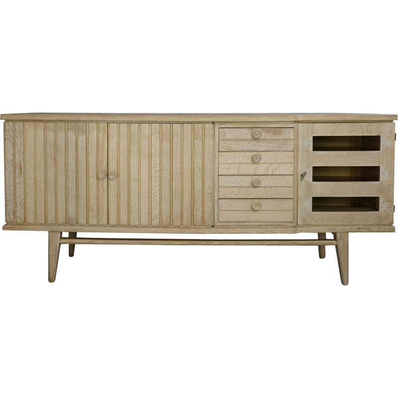 Solid oak mid century sideboard by Guillerme and Chambron - 1950s