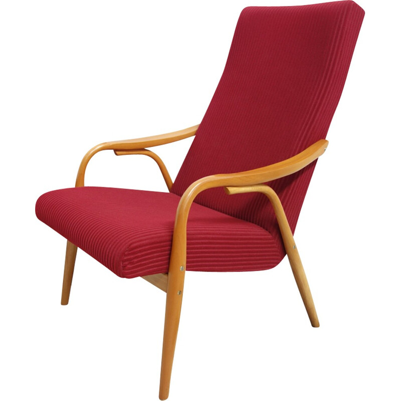"""Set of two red """"TON"""" chairs in beechwood and fabric - 1960s"""