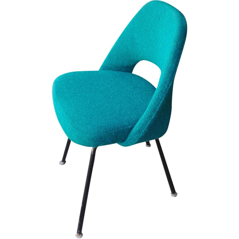 """Blue """"Conference"""" chair in wool and steel by Eero Saarinen for Knoll - 1960s"""