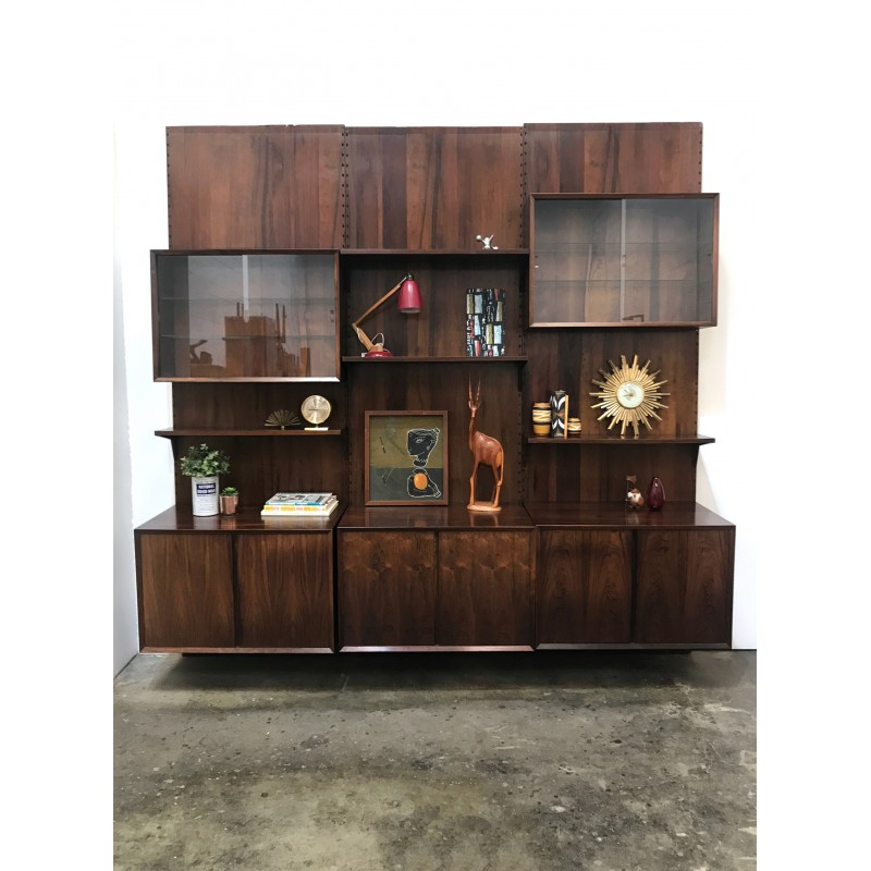 Danish rosewood modular wall system by Poul Cadovius for Cado - 1950s